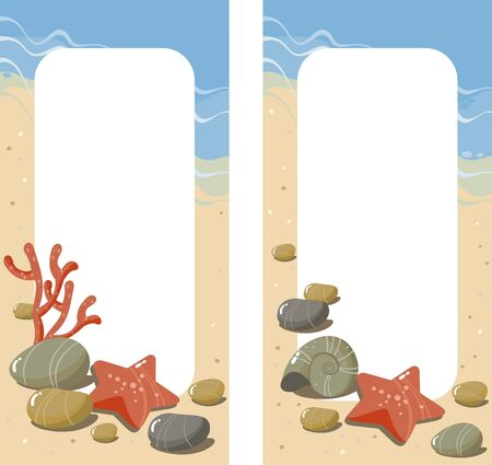 pure element: background with sea pebbles, seashells, starfish and coral