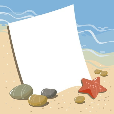 background with sea pebbles, seashells, starfish and coral Vector