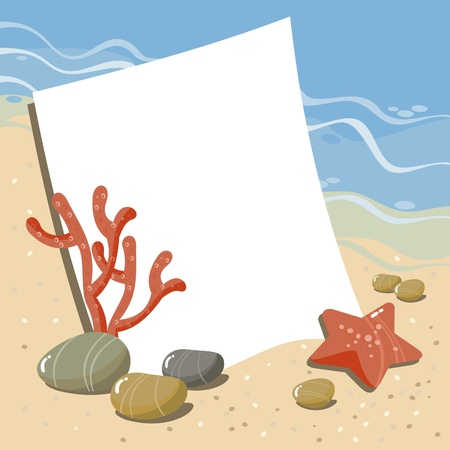 background with sea pebbles, seashells, starfish and coral Stock Vector - 9718664
