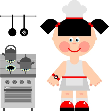 lady clock: A girl prepares food on a gas cooker