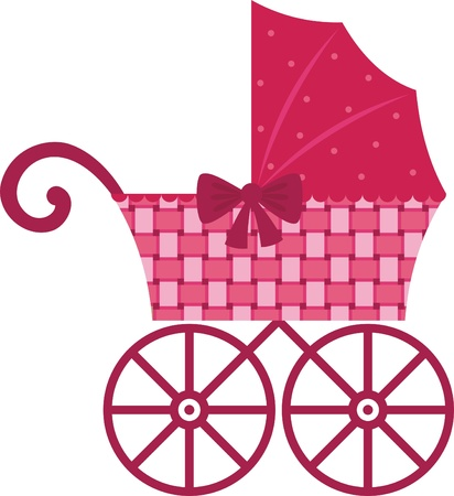 girls with bows: Pink Pram  Illustration