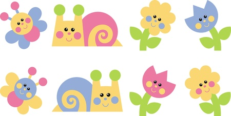 snails: Clip-art. Labels: Bedroom. Color stickers