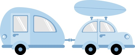 motorhome: Car and trailer  Illustration