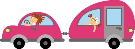 family van: family Vacation  Illustration