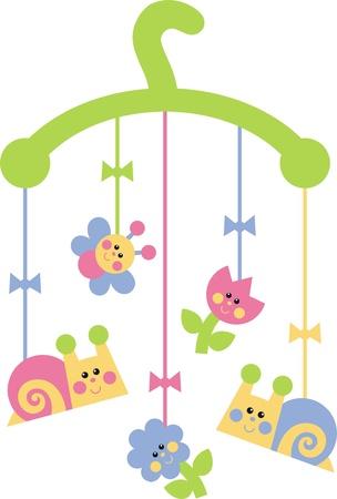 clip clip art: Child mobile toys  Illustration