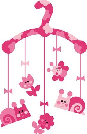 papillon rose: Décoration pour chambre d'enfant