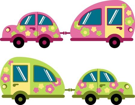 Samochód i przyczepa