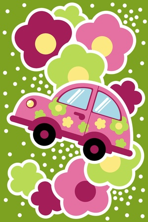 summer tires: car in the colors  Illustration