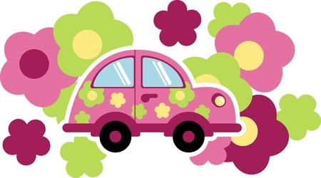 summer tires: coche en los colores  Vectores