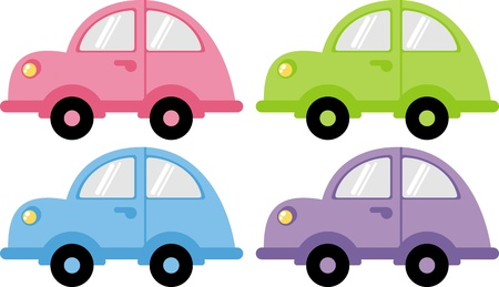 carritos de juguete: coloridos coches  Vectores