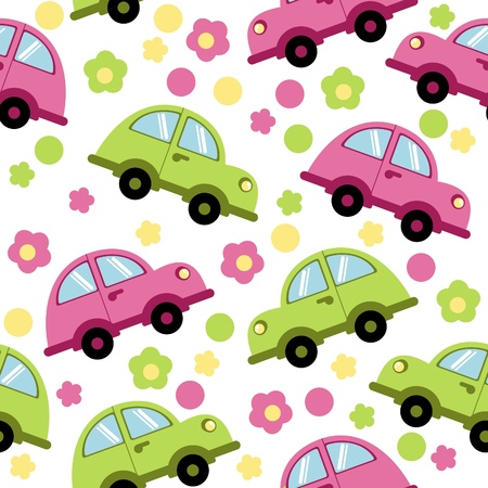 summer tires: Background cars with flowers Illustration