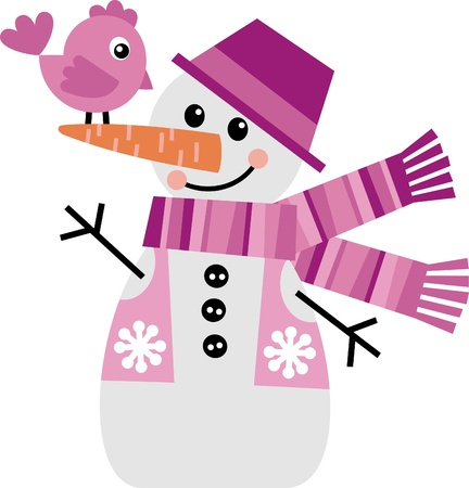 waistcoat: Vector image of a snowman with a little chicken
