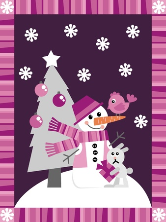 Christmas card. A set of vector elements in the New Year theme Vector