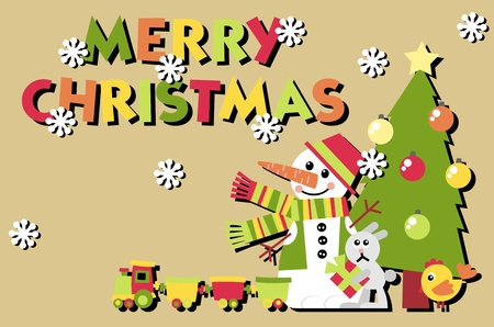 Christmas postcard. A set of vector elements in the New Year theme Stock Vector - 10884469