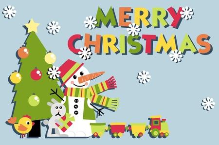Postal de Navidad. Un conjunto de elementos del vector en el tema del Año Nuevo