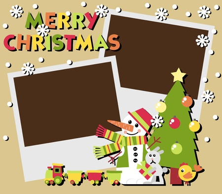 Christmas Scrapbooking. A set of two photos and illustrations Vector