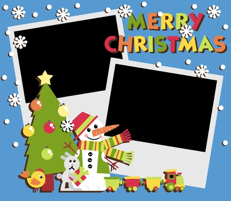 Christmas Scrapbooking. A set of two photos and illustrations Stock Vector - 10884474