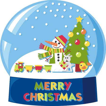 vector snow globe with a snowman and many toys Stock Vector - 10884472