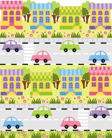 Sulla carreggiata fuori un giro in macchina piccola città