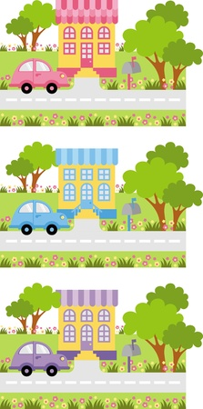 front porch: Parked car near the entrance to the house Illustration