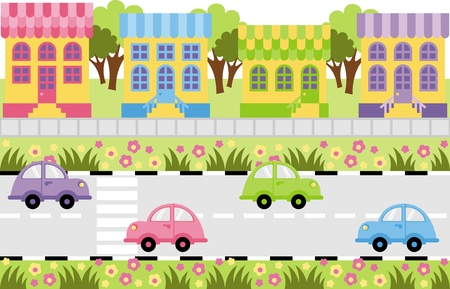 On the roadway outside a small town car ride Vector