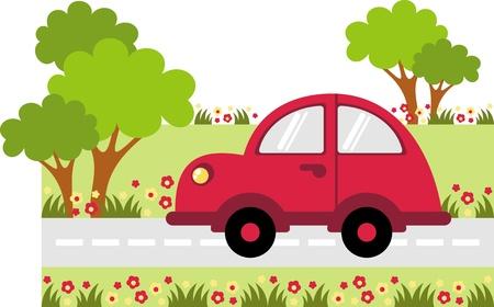 auto illustratie: kleine auto op de weg rijdt langs de boom
