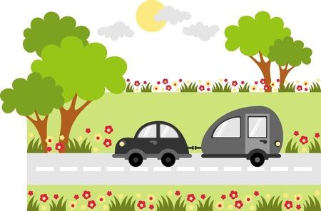 PKW-Anhänger reisen auf einem Feldweg entlang der Baum