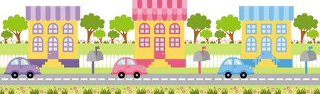 down the street a small quiet town car ride Vector