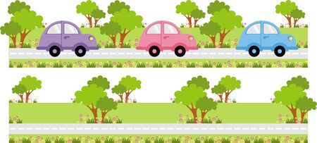 funny car: cars go on a country road along the tree