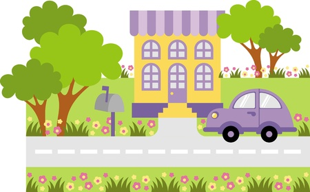 Parked car near the entrance to the house Illustration