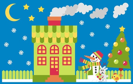 House and yard decorated for the holiday Christmas Stock Vector - 10936297