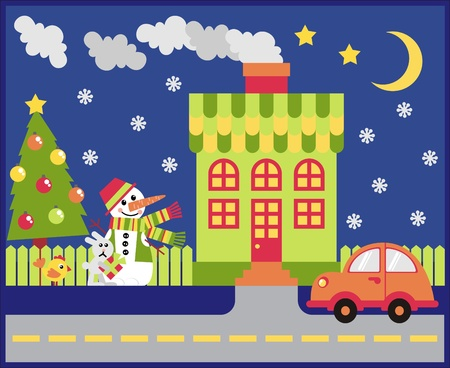 House and yard decorated for the holiday Christmas Vector