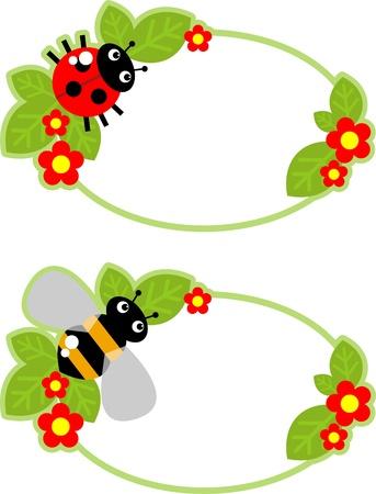 catarina caricatura: etiqueta con una abeja, Mariquita y flores Vectores