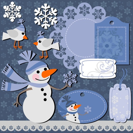 Christmas set of labels and backgrounds for scrapbook Vector