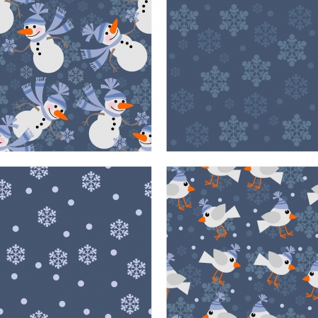 Seamless background with stylized Christmas snowflakes Vector