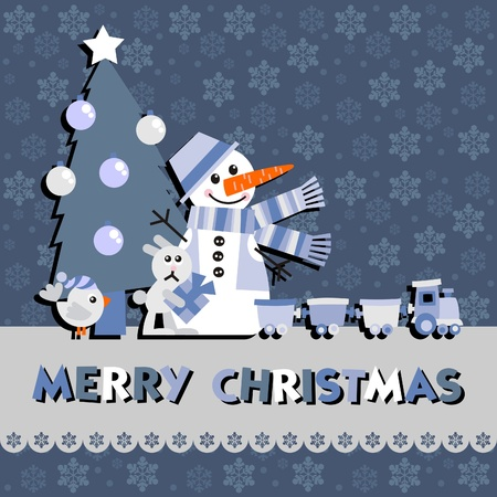 Christmas greeting card with a snowman Vector