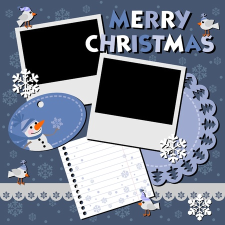 Christmas card with two framework for photo.  Illustration