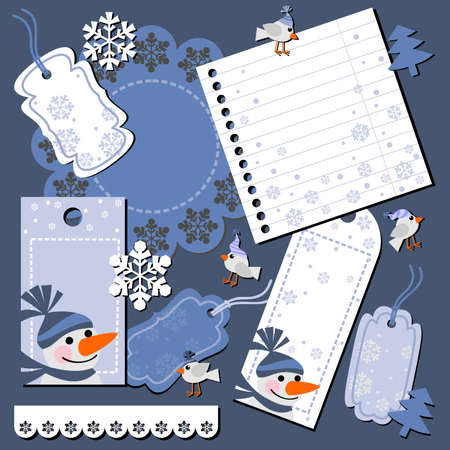 Christmas set of labels for scrapbook Vector