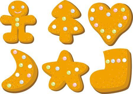 galleta de jengibre: Las galletas de pan de jengibre colección Vectores
