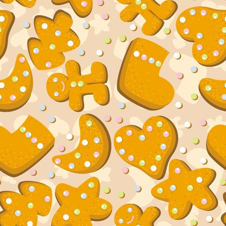 caked: Gingerbread cookies seamless  background Illustration