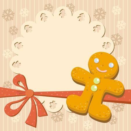Greeting with Gingerbread man Cookie Stock Vector - 11029933