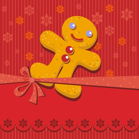 Greeting with Gingerbread man Cookie Stock Vector - 11029935