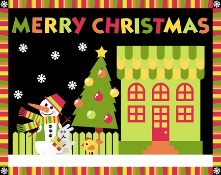 House and yard decorated for the holiday Christmas Stock Vector - 11029949