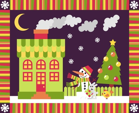 House and yard decorated for the holiday Christmas Stock Vector - 11029952