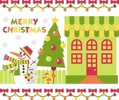 House and yard decorated for the holiday Christmas Stock Vector - 11029946