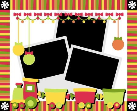 christmas train: Vector scrapbook in a beautiful frame for a Christmas theme Illustration