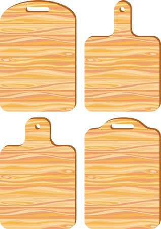 Vector clip-art. Kitchen cutting boards with wood texture Vector