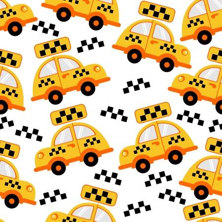 De fondo sin fisuras. Vector clip-art. El taxi coche