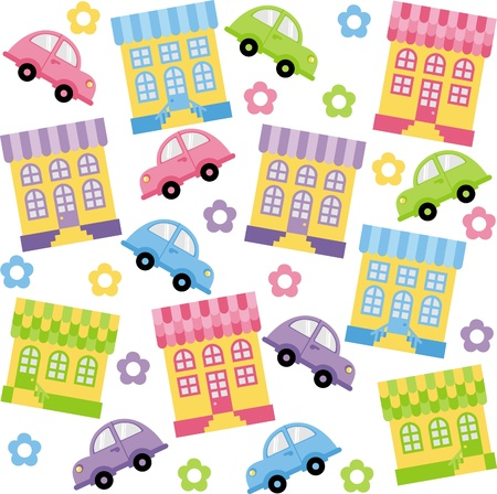 Seamless background. Lovely multi-colored houses and cars Vector