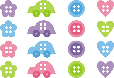 Set for a scrapbook. Vector clip-art. Baby buttons Vector